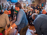 18 OCTOBER 2019 - SIGOURNEY, IOWA: US Senator AMY KLOBUCHAR (D-MN) talks to an Iowa voter before a campaign event in Sigourney, IA. Sen. Klobuchar is on barnstorming bus tour of southeast Iowa this weekend. She is campaigning to be the Democratic nominee for the US Presidency. In addition to campaign meet and greet events, she stopped at a biofuels plant to learn about the difficulties farmers and biofuels producers face because of the trade war with China. Iowa holds the first selection event of the Presidential election cycle. The Iowa caucuses are Feb. 3, 2020.         PHOTO BY JACK KURTZ