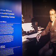 An introductory panel at the Woodrow Wilson Presidential Memorial Exhibit and Learning Center in the Ronald Reagan Building in downtown Washington DC. The Memorial commemorates the 28th American president.