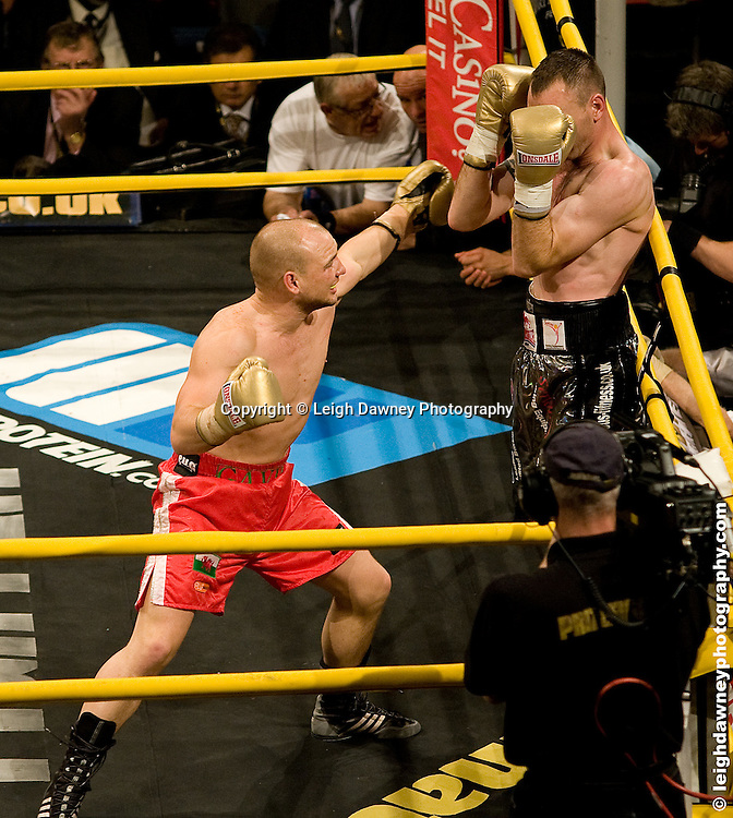 Gavin Rees (red shorts) claiming Prizefighter defeats Colin Lynes at London Olympia -  Prizefighter Light Welterweights 4th December 2009 Credit: © Leigh Dawney Photography
