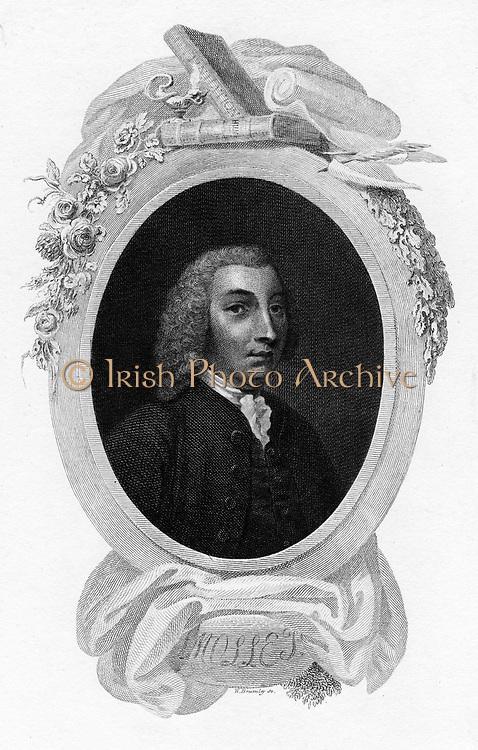 Tobias George Smollett (1721-171) Scottish-born British novelist, 1803. His best known work is 'The Adventures of Roderick Random' (1748).  Engraving. Writer. Author. English Literature.