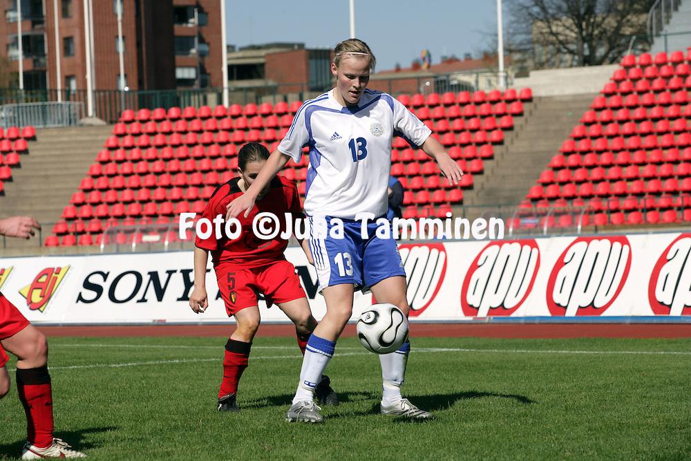 06.05.2006, Ratina, Tampere, Finland..Naisten MM-karsintaottelu Suomi - Belgia / FIFA Women's World Cup Qualifying match, Finland v Belgium..Annica Sj?lund - Finland.©Juha Tamminen.....ARK:k
