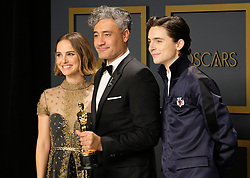 92nd Annual Academy Awards Oscar Ceremony - Press Room. 09 Feb 2020 Pictured: Natalie Portman, Taika Waititi, Timothée Chalamet. Photo credit: Jen Lowery / MEGA TheMegaAgency.com +1 888 505 6342