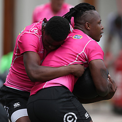 Aphelele Fassi of the Cell C Sharks and S'busiso Nkosi of the Cell C Sharks during the Cell C sharks training at Jonsson Kings Park ,Durban.South Africa. 08,10,2018 (Photo by Steve Haag)