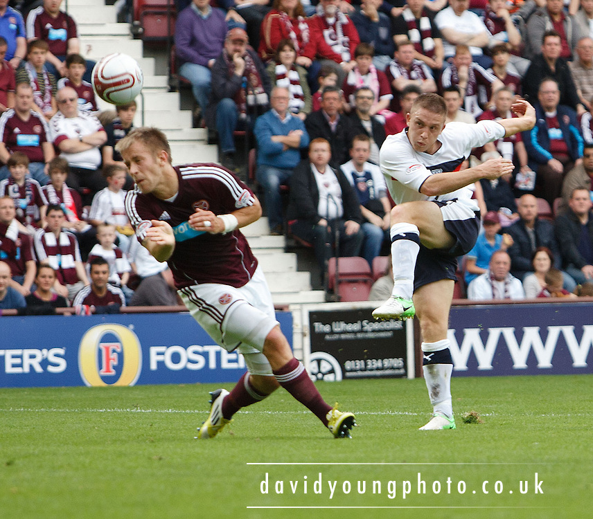 Dundee's John Baird  fires in a shot - Hearts v Dundee at Tynecastle in the Clydesdale Bank Scottish Premier League.. - © David Young - 5 Foundry Place - Monifieth - DD5 4BB - Telephone 07765 252616 - email: davidyoungphoto@gmail.com - web: www.davidyoungphoto.co.uk