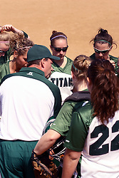05 April 2008: Team huddle led by coach Steve King. The Carthage College Lady Reds lost the first game of this double header to the Titans of Illinois Wesleyan 4-1 at Illinois Wesleyan in Bloomington, IL