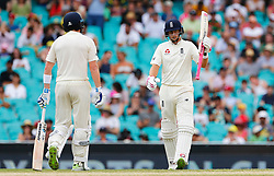 England's Joe Root brings up his fifty during day five of the Ashes Test match at Sydney Cricket Ground.
