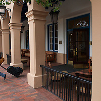 Woman leaving the Hotel St. Francis in Santa Fe.