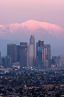 Los Angeles Skyline and Snowy Mount Baldy in Background, Southern California