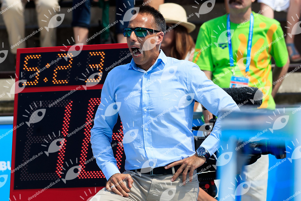 David Martin coach of Spain<br /> Spain (White cap) vs Greece (Blue Cap) Water Polo - Preliminary round<br /> Day 04 17/07/2017 <br /> XVII FINA World Championships Aquatics<br /> Alfred Hajos Complex Margaret Island  <br /> Budapest Hungary July 15th - 30th 2017 <br /> Photo @Marcelterbals/Deepbluemedia/Insidefoto Photo @Marcelterbals/Deepbluemedia/Insidefoto