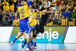 Kristian Beciri of RK Celje Pivovarna Lasko during handball match between RK Celje Pivovarna Lasko (SLO) and HC PPD Zagreb (CRO) in Group phase of VELUX EHF Men's Champions League 2018/19, November 18, 2018 in Arena Zlatorog, Celje, Slovenia. Photo by Urban Urbanc / Sportida