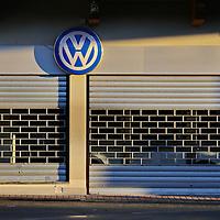 Milan, Italy - October 16, 2015 : a dealer of Volkswagen closed