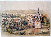 Landscape with Houses' . Watercolour and brown ink. Gillis Neyts (1623-1687) Flemish draughtsman, painter and etcher.  Building Half-timbered Brick Pond