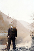 adult man in mountain landscape Japan ca 1950s