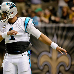 Dec 6, 2015; New Orleans, LA, USA; Carolina Panthers quarterback Cam Newton (1) prior to a game against the New Orleans Saints at Mercedes-Benz Superdome. Mandatory Credit: Derick E. Hingle-USA TODAY Sports