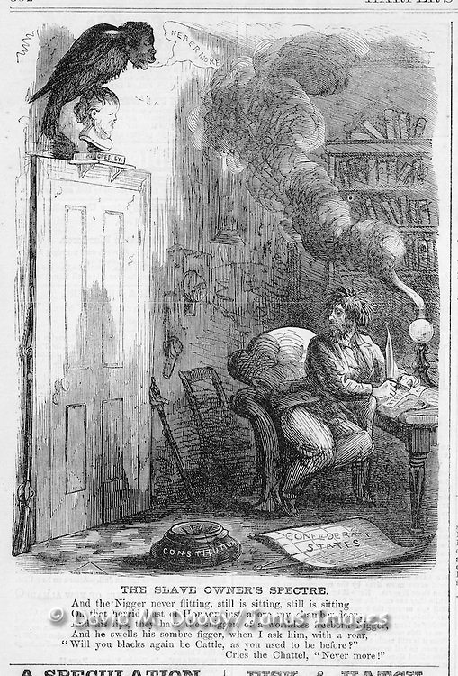 "Anti slavery cartoon: A black raven and parphrases  Poe's ""Nevermore"" perched above a frightened slaveholder in the dark of night. Vintage Illustration form Harper's Weekly 1863"