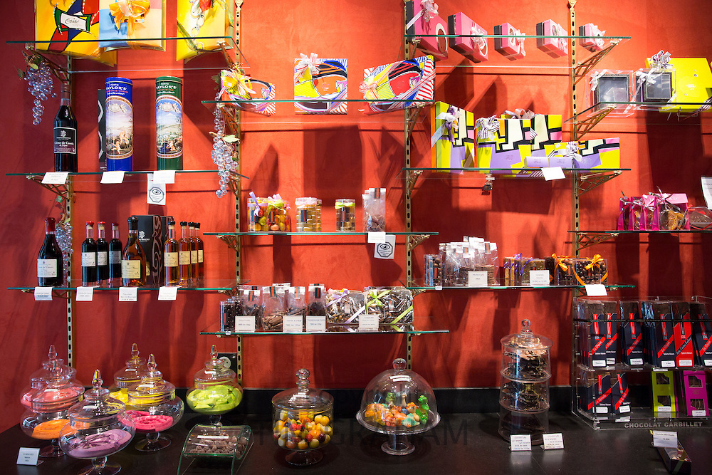 Chocolate and speciality food and drinks for sale at Carbillet in Rue des Forges in Dijon in the Burgundy region of France