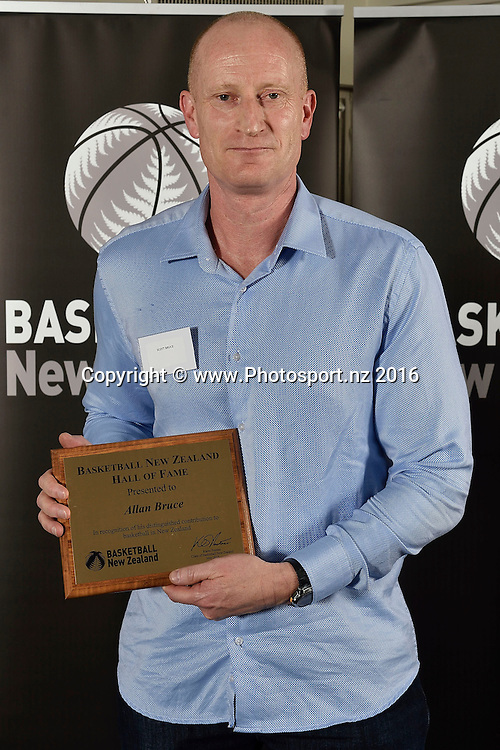 Scott Bruce receives a Hall of Fame plaque on behalf of his father Allan Bruce (deceased)      during the Basketball New Zealand awards evening at the Mercure Hotel in Wellington on Friday the 20th of May 2016. Copyright Photo by Marty Melville / www.Photosport.nz