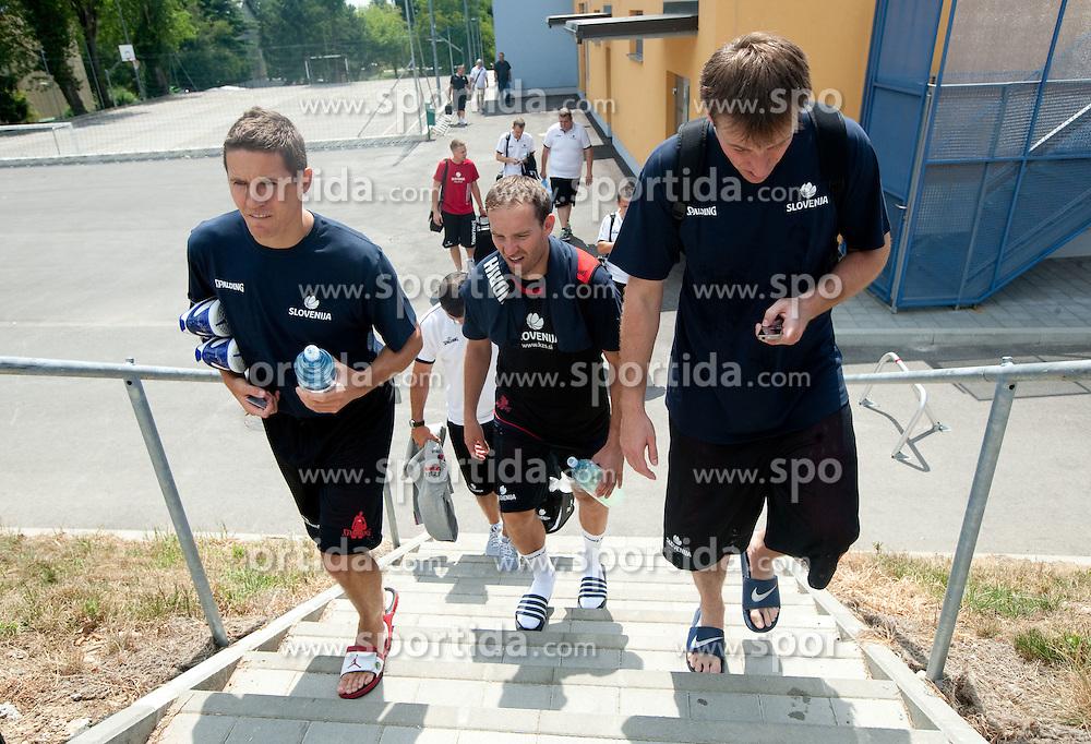 Jaka Lakovic, Samo Udrih and Matjaz Smodis during media day at training camp of Slovenian National Basketball team for Eurobasket Lithuania 2011, on July 19, 2011, in Arena Ljudski vrt, Ptuj, Slovenia.  (Photo by Vid Ponikvar / Sportida)