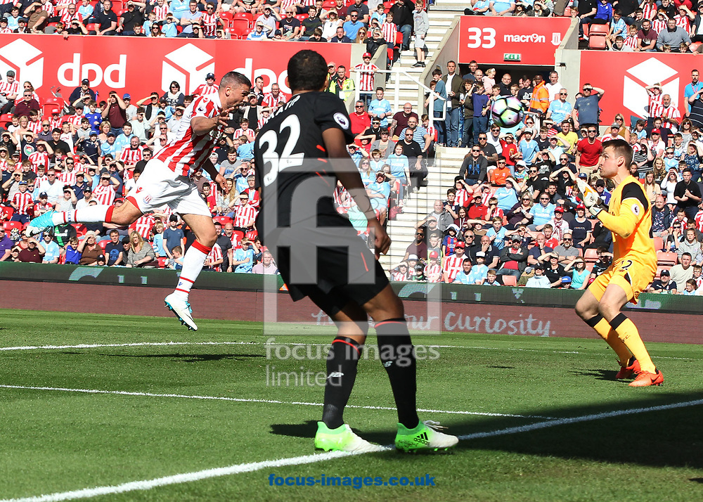 Jonathan Walters of Stoke City scores the first goal against Liverpool during the Premier League match at the Bet 365 Stadium, Stoke-on-Trent.<br /> Picture by Michael Sedgwick/Focus Images Ltd +44 7900 363072<br /> 08/04/2017