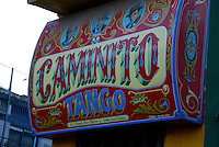 "Typical Sign of Caminito, a very popular tourist attraction in Buenos Aires, Argentina, the technique use in sign is called ""Fileteado Porten?o"""