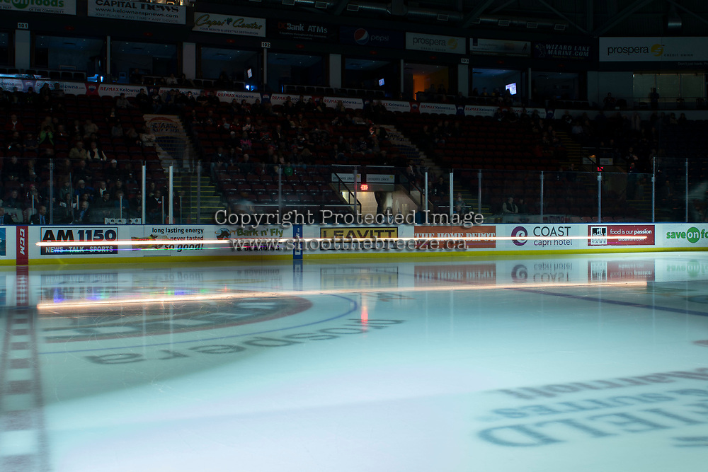 KELOWNA, CANADA - DECEMBER 7: Rocky Racoon, the mascot of the Kelowna Rockets enters the ice on his Polaris quad against the Victoria Royals on December 7, 2018 at Prospera Place in Kelowna, British Columbia, Canada.  (Photo by Marissa Baecker/Shoot the Breeze)