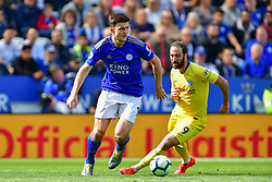 May 12, 2019 - Leicester, England, United Kingdom - Leicester City defender Harry Maguire (15) battles with Gonzalo Higuain (9) of Chelsea during the Premier League match between Leicester City and Chelsea at the King Power Stadium, Leicester on Sunday 12th May 2019. (Credit Image: © Mi News/NurPhoto via ZUMA Press)