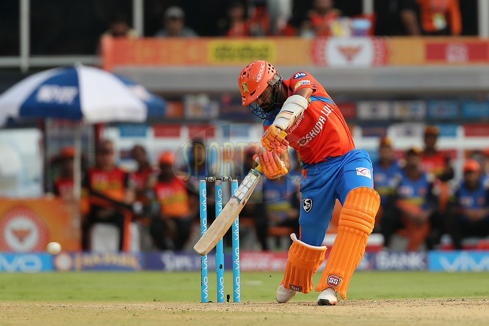 Dinesh Karthik of the Gujarat Lions during match 6 of the Vivo 2017 Indian Premier League between the Sunrisers Hyderabad and the Gujarat Lions held at the Rajiv Gandhi International Cricket Stadium in Hyderabad, India on the 9th April 2017<br /> <br /> Photo by Ron Gaunt - IPL - Sportzpics