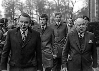 New Secretary of State for N Ireland, Francis Pym, left, who had just arrived by helicopter at Stormont Castle, Belfast, N Ireland, to take up the post on 4th December 1973. With him (on right) is existing N Ireland minister, Sir William van Straubenzee. 197312040743a<br /> <br /> Copyright Image from Victor Patterson, 54 Dorchester Park, <br /> Belfast, UK, BT9 6RJ<br /> <br /> t1: +44 28 9066 1296 (from Rep of Ireland 048 9066 1296)<br /> t2: +44 28 9002 2446 (from Rep of Ireland 048 9002 2446)<br /> m: +44 7802 353836<br /> <br /> e1: victorpatterson@me.com<br /> e2: victorpatterson@gmail.com<br /> <br /> www.victorpatterson.com<br /> <br /> Please see my Terms and Conditions of Use at VICTORPATTERSON.COM. It is IMPORTANT that you familiarise yourself with them.<br /> <br /> Images used on the Internet must be visibly watermarked i.e. ©VICTORPATTERSON.COM within the body of the image and copyright metadata must not be deleted. Images used on the Internet have a size restriction of 4kbs and are chargeable at the then current NUJ rates.<br /> <br /> This image is only available for the use of the download recipient i.e. television station, newspaper, magazine, book publisher, etc, and must not be passed on to any third party. It is also downloaded on condition that each and every usage is notified within 7 days to victorpatterson@me.com<br /> <br /> The right of Victor Patterson to be identified as the author is asserted in accordance with The Copyright Designs And Patents Act (1988).