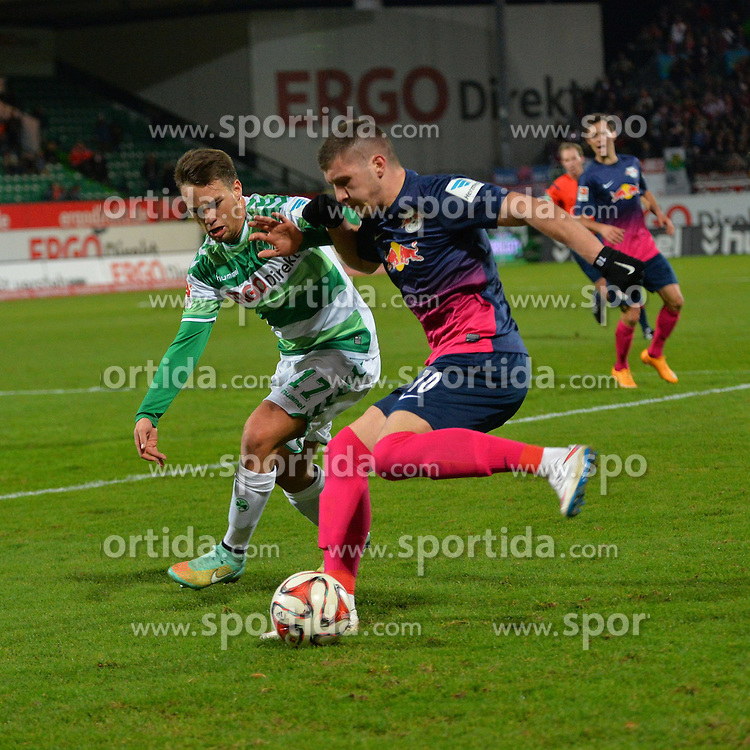 12.12.2014, Trolli Arena, Fuerth, GER, 2. FBL, SpVgg Greuther Fuerth vs RB Leipzig, 17. Runde, im Bild Ante Rebic (RB Leipzig / rechts) im Zweikampf mit Thomas Pledl (Greuther Fuerth / links) // during the 2nd German Bundesliga 17th round match between SpVgg Greuther Fuerth and RB Leipzig at the Trolli Arena in Fuerth, Germany on 2014/12/12. EXPA Pictures &copy; 2014, PhotoCredit: EXPA/ Eibner-Pressefoto/ Merz<br /> <br /> *****ATTENTION - OUT of GER*****