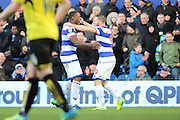 Queens Park Rangers forward Conor Washington (9) and Queens Park Rangers defender Nedum Onuoha (5) celebrating goal 1-2 during the EFL Sky Bet Championship match between Queens Park Rangers and Burton Albion at the Loftus Road Stadium, London, England on 28 January 2017. Photo by Matthew Redman.