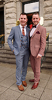 Repro Free: Mike McCarthy and Paul Carroll  from  funky fashion frolics   'Most Stylish Gent' , at a glamorous evening reception in the Parlour Lounge of Hotel Meyrick on Ladies Day of the Galway Races, Thursday August 3rd. Head judge this year was the stunning Lorraine Keane,  assisted by fellow fashion experts Mandy Maher owner of Catwalk Modelling Agency and Irish model, Mary Lee.   Photo:Andrew Downes, xposure .