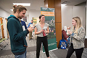 Ohio University faculty, staff, and students visit the new CoLab on the third floor of Alden Library for an Open House on Oct. 23, 2018. Photo by Hannah Ruhoff