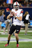 TUCSON, AZ - NOVEMBER 14:  Quarterback Travis Wilson #7 of the Utah Utes throws the football during warm ups prior to the game against the Arizona Wildcats at Arizona Stadium on November 14, 2015 in Tucson, Arizona.  (Photo by Jennifer Stewart/Getty Images)