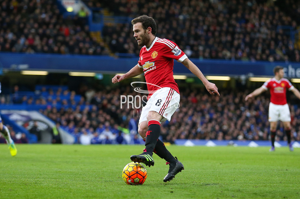 Juan Mata of Manchester United during the Barclays Premier League match between Chelsea and Manchester United at Stamford Bridge, London, England on 7 February 2016. Photo by Ellie Hoad.