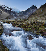 At sunrise, the icy pyramid of Nevado Alpamayo (19,511 ft or 5947 m) is seen from a stream in Alpamayo Valley, in the Cordillera Blanca, Andes Mountains, Peru, South America. Day 7 of 10 days trekking around Alpamayo, in Huascaran National Park (UNESCO World Heritage Site). This panorama was stitched from 3 overlapping photos.