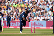 Ravi Rampaul of Derbyshire Falcons bowling during the Vitality T20 Finals Day 2019 match between Derbyshire Falcons and Essex Eagles at Edgbaston, Birmingham, United Kingdom on 21 September 2019.