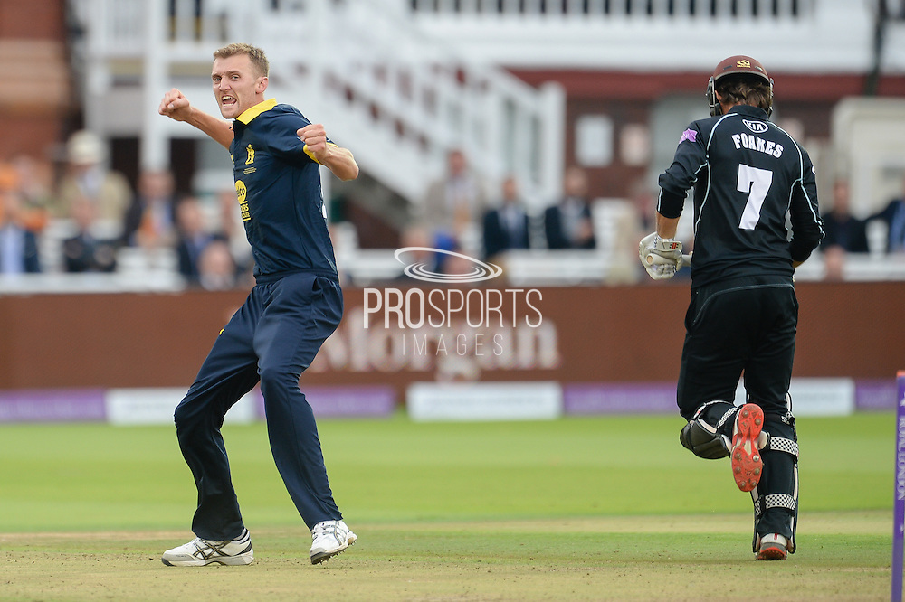 Oliver Hannon-Dalby of Warwickshire celebrates the wicket of Ben Foakes during the Royal London One Day Cup match between Warwickshire County Cricket Club and Surrey County Cricket Club at Lord's Cricket Ground, St John's Wood, United Kingdom on 17 September 2016. Photo by David Vokes.