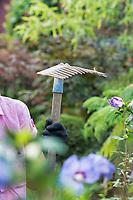 Portrait of gardener holding fork rake
