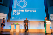 Sir David Attenborough presents the awards at the 2010 Ashden Awards ceremony at the Royal Geographic Society.
