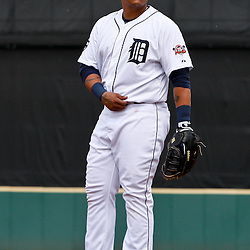 March 9, 2011; Lakeland, FL, USA; Detroit Tigers first baseman Miguel Cabrera (24) during a spring training exhibition game against the Philadelphia Phillies at Joker Marchant Stadium.   Mandatory Credit: Derick E. Hingle