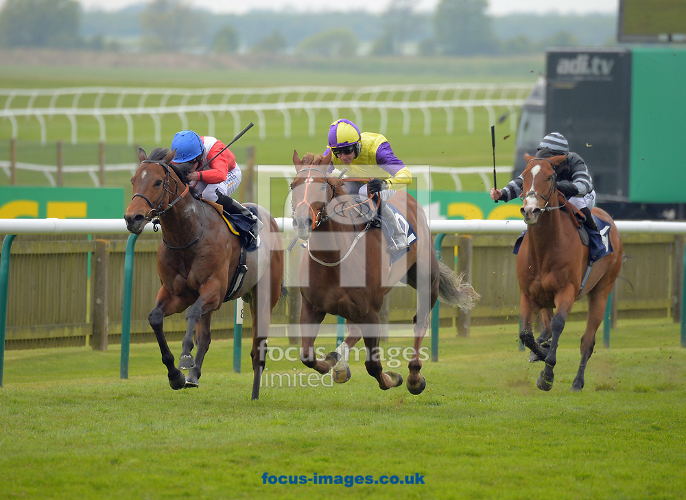 Brando ridden by Tom Eaves (yellow and blue) wins Connought Access Flooring Abernant stakes on the Thursday of the bet365 Craven Meeting at the Rowley Mile course, Newmarket<br /> Picture by Martin Lynch/Focus Images Ltd 07501333150<br /> 20/04/2017