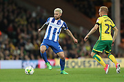 Brighton & Hove Albion midfielder Oliver Norwood (21) and Norwich City forward Alex Pritchard (21) during the EFL Sky Bet Championship match between Norwich City and Brighton and Hove Albion at Carrow Road, Norwich, England on 21 April 2017.