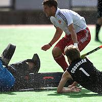 MELBOURNE - Champions Trophy men 2012<br /> England v New Zealand<br /> foto: George Pinner saves before James Coughlan.<br /> FFU PRESS AGENCY COPYRIGHT FRANK UIJLENBROEK