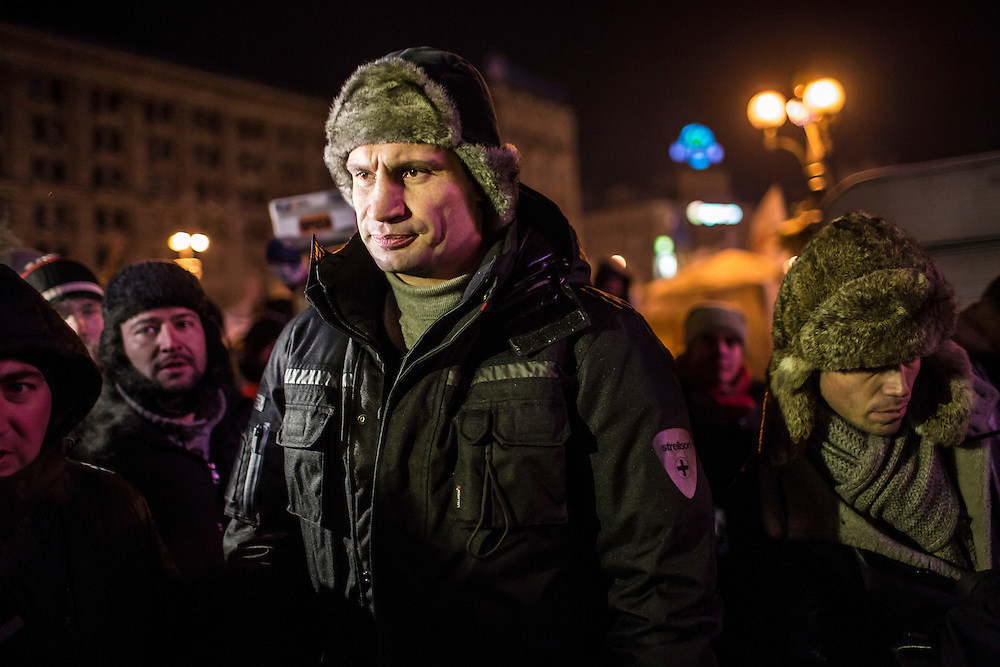 KIEV, UKRAINE - JANUARY 25: Vitali Klitschko, leader of the opposition political party Ukrainian Democratic Alliance for Reform, walks behind the stage after speaking to the crowd of anti-government protesters on Independence Square on January 25, 2014 in Kiev, Ukraine. After two months of primarily peaceful anti-government protests in the city center, new laws meant to end the protest movement have sparked violent clashes in recent days. (Photo by Brendan Hoffman/Getty Images) *** Local Caption *** Vitali Klitschko
