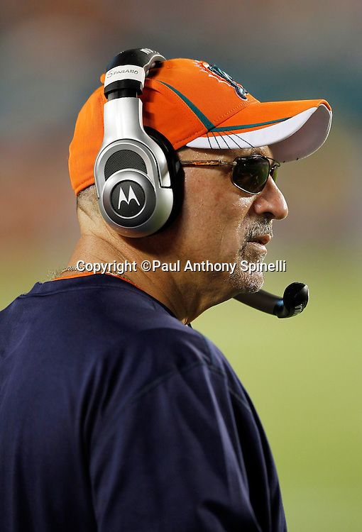 Miami Dolphins head coach Tony Sparano looks on during the NFL week 1 football game against the New England Patriots on Monday, September 12, 2011 in Miami Gardens, Florida. The Patriots won the game 38-24. ©Paul Anthony Spinelli