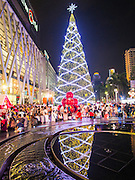 10 DECEMBER 2014 - BANGKOK, THAILAND: The Christmas tree at Central World in Bangkok. Thailand is overwhelmingly Buddhist. Christmas is not a legal holiday in Thailand, but Christmas has become an important commercial holiday in Thailand, especially in Bangkok and communities with a large expatriate population.         PHOTO BY JACK KURTZ