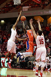 21 November 2015:  Anthony Odunsi(2) splits defenders Tony Wills(12) and Justin McCloud(15) to take a shot. Illinois State Redbirds host the Houston Baptist Huskies at Redbird Arena in Normal Illinois (Photo by Alan Look)