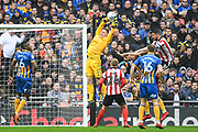 Dean Henderson of Shrewsbury Town (1) collects the ball during the EFL Trophy Final match between Lincoln City and Shrewsbury Town at Wembley Stadium, London, England on 8 April 2018. Picture by Stephen Wright.