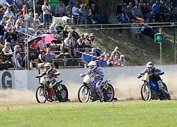 07.06.2015, Leineweberring, Bielefeld, GER, ADAC Motorrad Grasbahnrennen EM, Semifinale 2, im Bild Der Start mit 5 Sebastian Tresarrieu/F, 4 Jannick de Jong/NL, 7 Bernd Diener/D // during the second Semifinal of ADAC Motorcycle GRASSTRACK European Championship at the Leineweberring in Bielefeld, Germany on 2015/06/07. EXPA Pictures © 2015, PhotoCredit: EXPA/ Eibner-Pressefoto/ Stiefel<br /> <br /> *****ATTENTION - OUT of GER*****