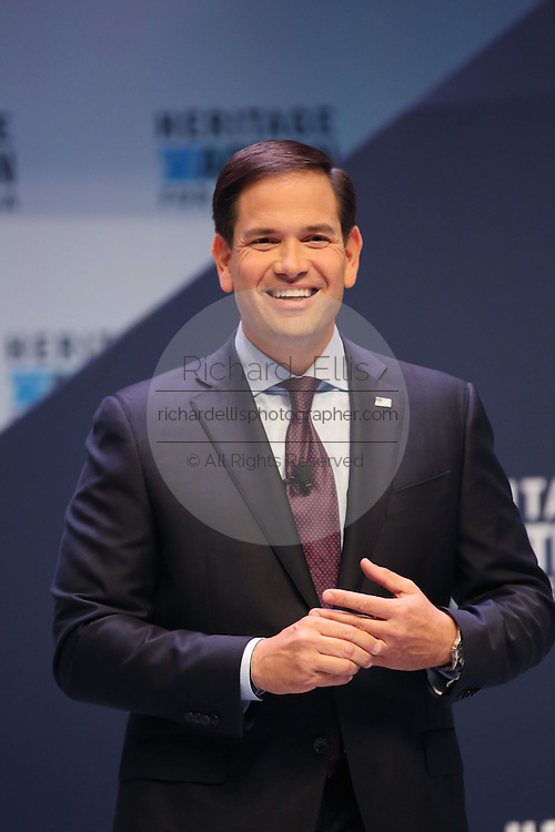 Senator and GOP presidential candidate Marco Rubio smiles during applause during his speech at the Heritage Foundation Take Back America candidate forum September 18, 2015 in Greenville, South Carolina. The event features 11 presidential candidates but Trump unexpectedly cancelled at the last minute.